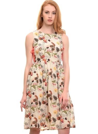 Vero Moda Vero Moda 10153683 Normal Kesim Polyester ÇiÇek Desenli Kadın Elbise Gri